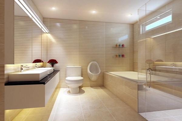 Gạch lát nền nhà tắm màu vàng nhạt