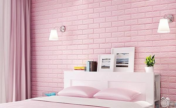 gạch ốp tường phòng ngủ màu hồng-01
