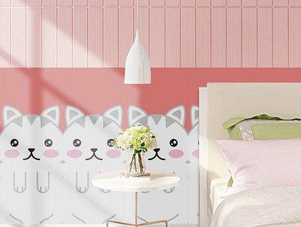gạch ốp tường phòng ngủ màu hồng-06